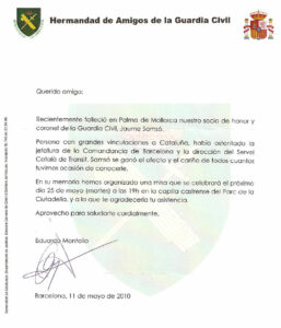 Fallecimiento del Coronel de la Guardia Civil Jaume Samsó