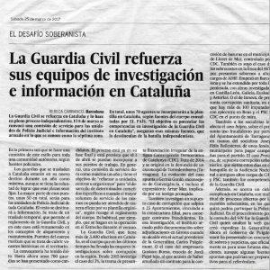 La Guardia Civil refuerza sus equipos de investigación e información en Cataluña